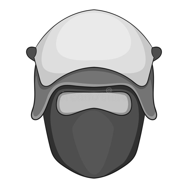 Policjant głowa w twarzy maski ikony monochromu ilustracja wektor