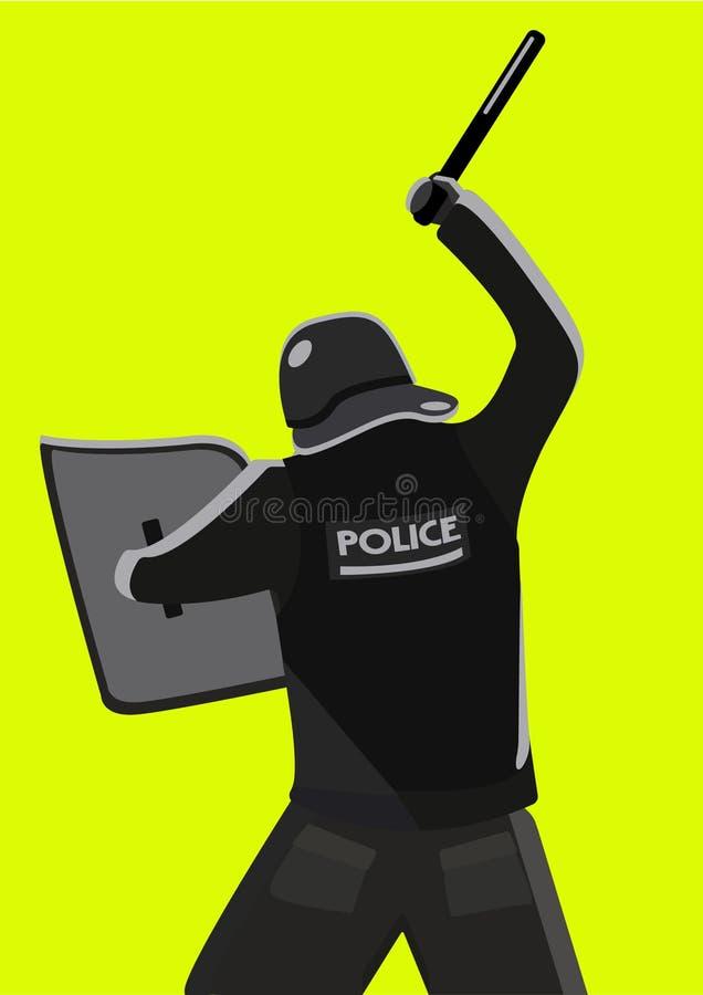 Policjant huśta się batutę na żółtym tle royalty ilustracja