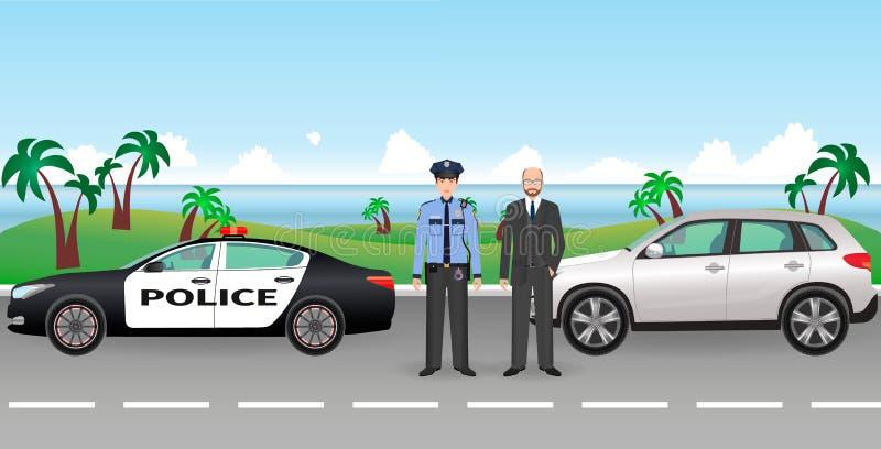 Policjant i policja patrol na drodze z zatkanym samochodem i nim kierowca Milicyjni i cywilni mężczyzna charaktery ilustracja wektor