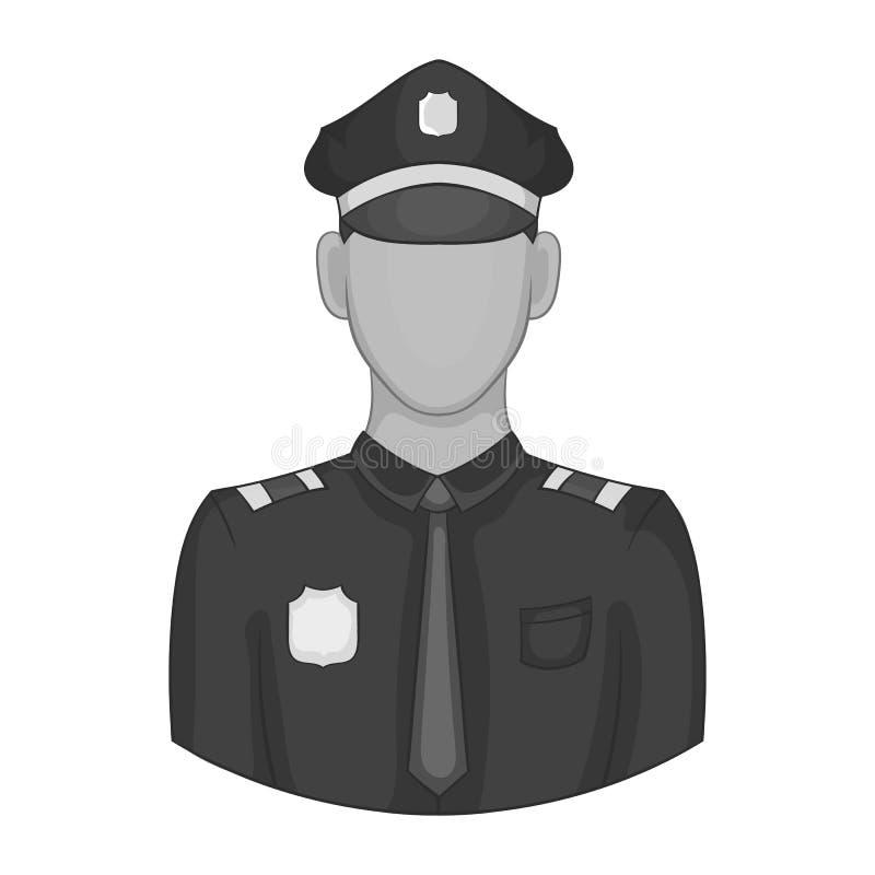 Policjant ikona, czarny monochromu styl ilustracja wektor