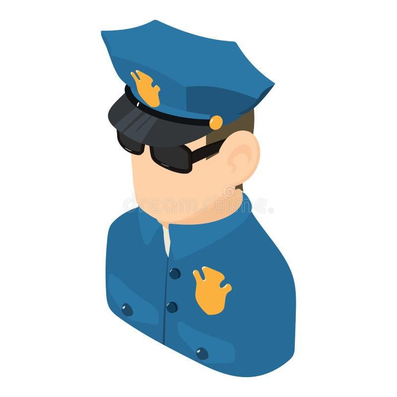 Policjant ikona, isometric 3d styl ilustracja wektor