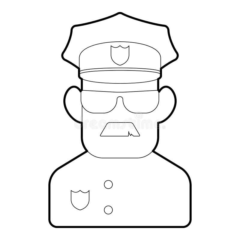 Policjant ikona, konturu styl ilustracja wektor