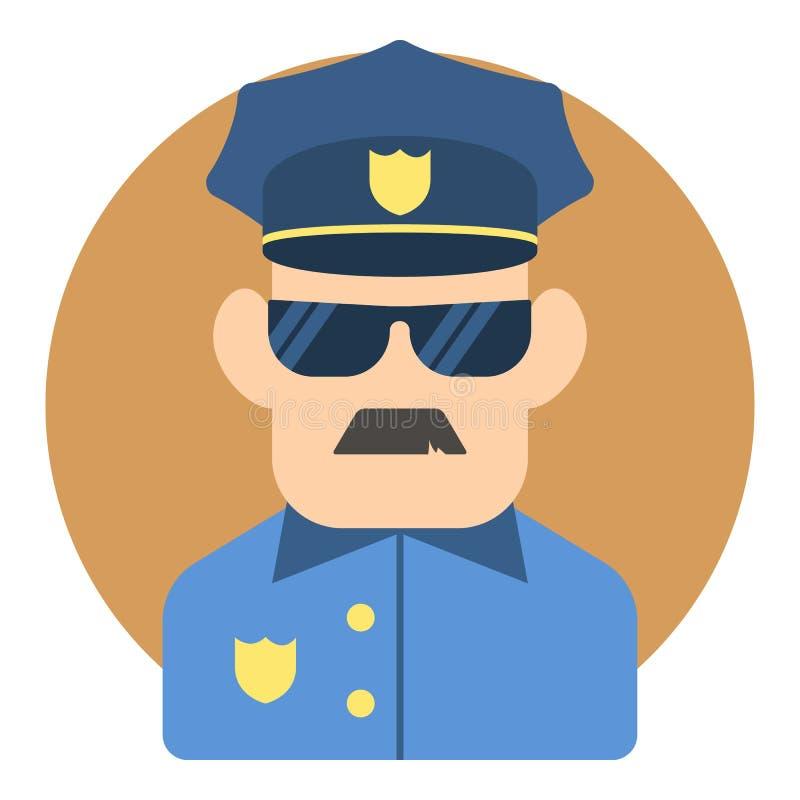 Policjant ikona, mieszkanie styl ilustracji