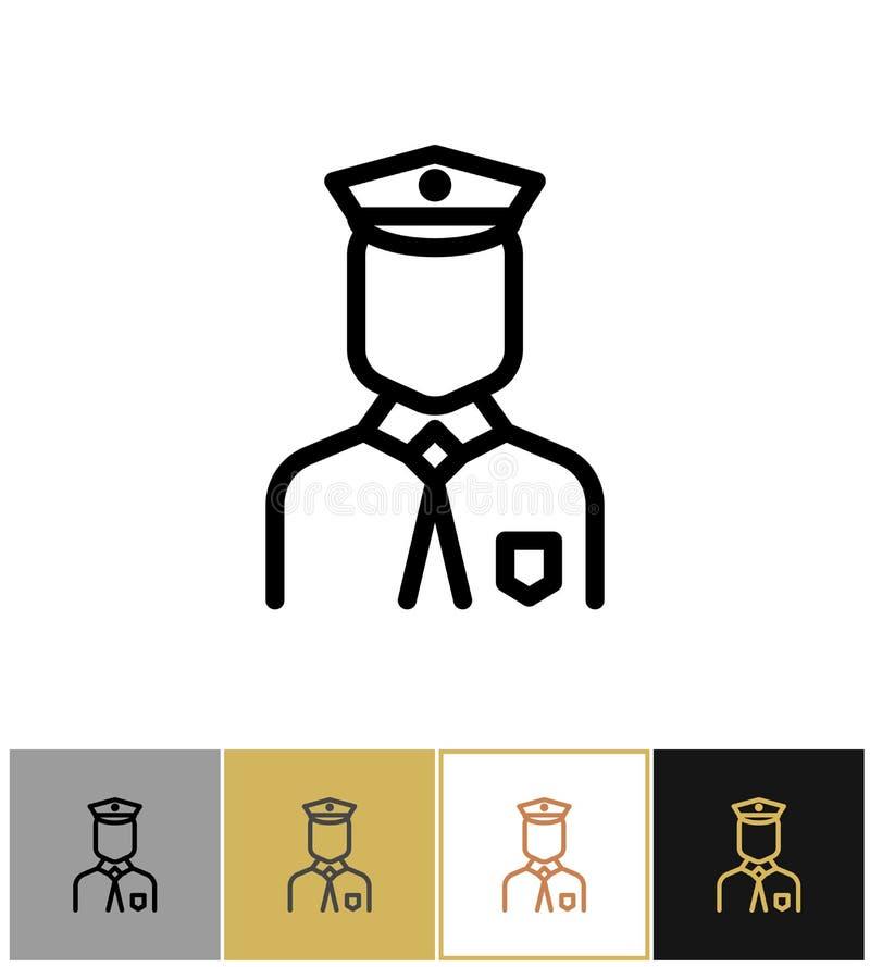Policjant ikona, policja munduru mężczyzna znak lub pracownik ochrony osoba, royalty ilustracja