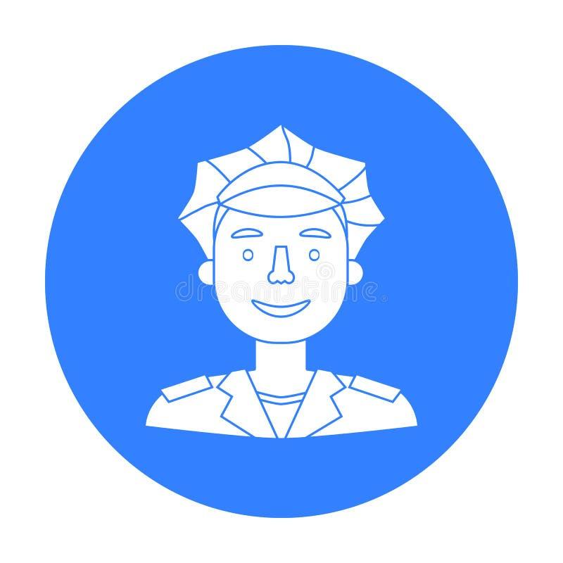 Policjant ikona w czerń stylu odizolowywającym na białym tle Ludzie różny zawodu symbolu zapasu wektor ilustracja wektor