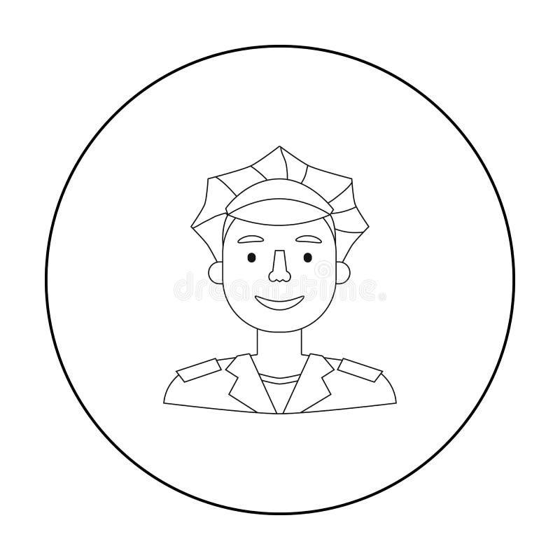 Policjant ikona w konturu stylu odizolowywającym na białym tle Ludzie różny zawodu symbolu zapasu wektor royalty ilustracja