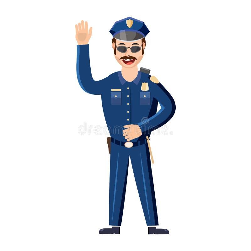 Policjant ikona w kreskówka stylu royalty ilustracja