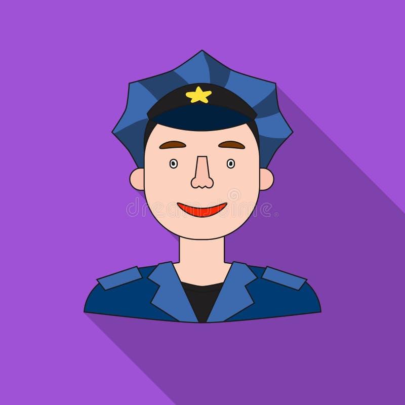 Policjant ikona w mieszkanie stylu odizolowywającym na białym tle Ludzie różny zawodu symbolu zapasu wektor ilustracja wektor