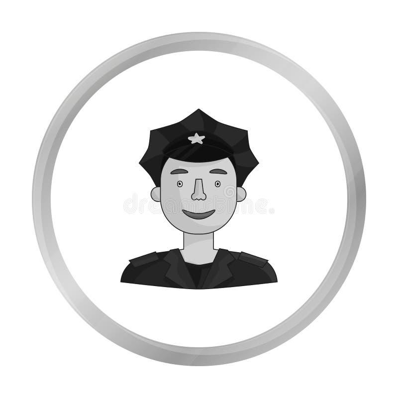 Policjant ikona w monochromu stylu odizolowywającym na białym tle Ludzie różny zawodu symbolu zapasu wektor royalty ilustracja