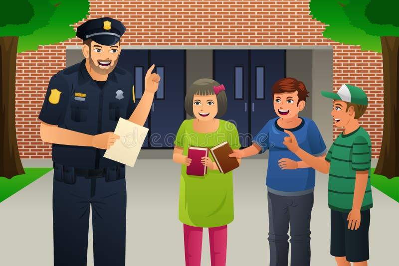 Policjant Opowiada dzieciaki ilustracja wektor