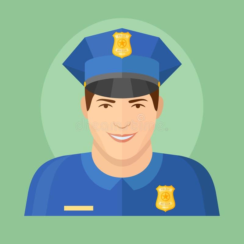 Policjant płaska ikona na zielonym tle ilustracja wektor