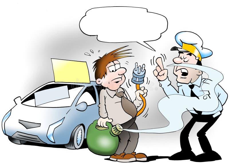 Policjant sprawdza paliwo dla twój samochodu royalty ilustracja