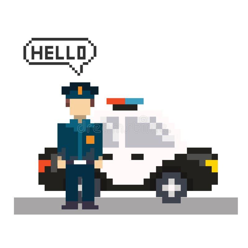 Policjant w piksel sztuce royalty ilustracja