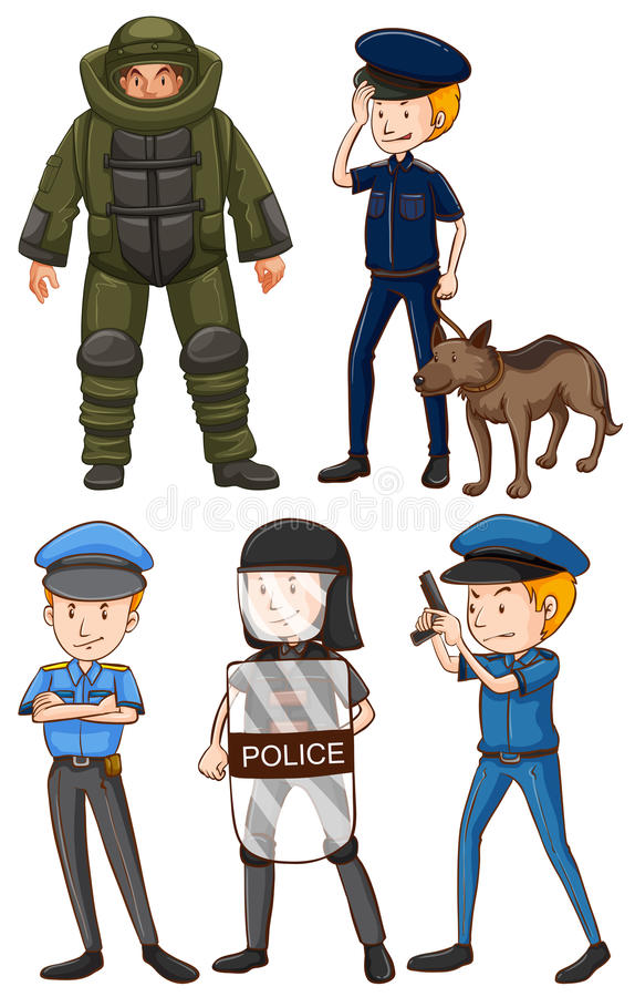 Policjant w różnych mundurach ilustracji