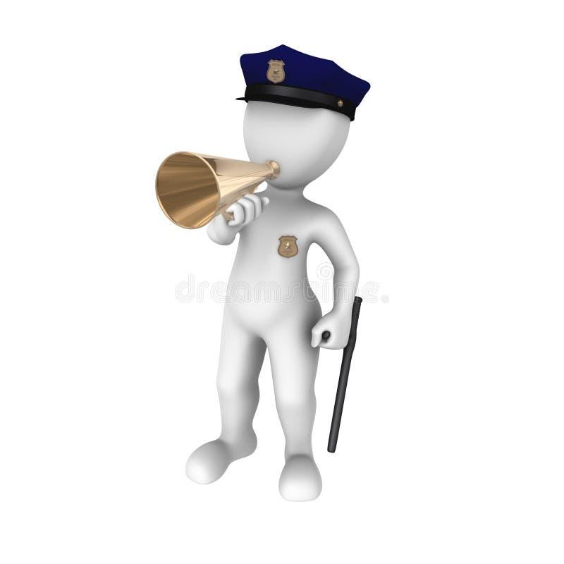 Policjant z megafonem ilustracja wektor