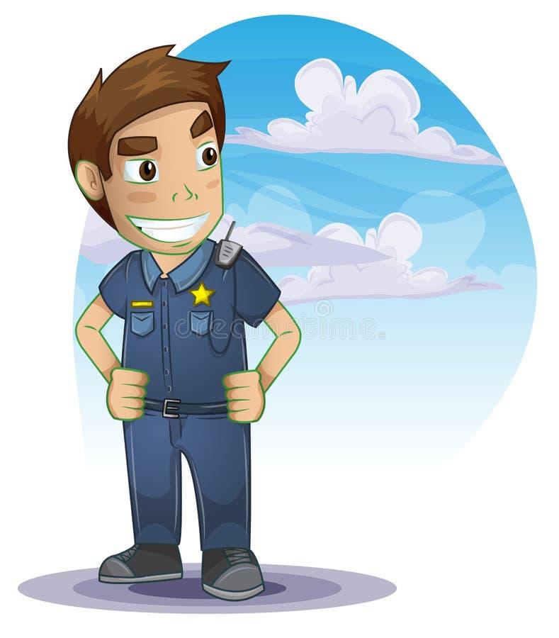 Policjant z oddzielonymi warstwami ilustracji