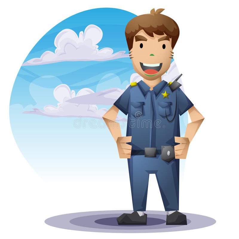 Policjant z oddzielonymi warstwami dla gry i animaci ilustracji