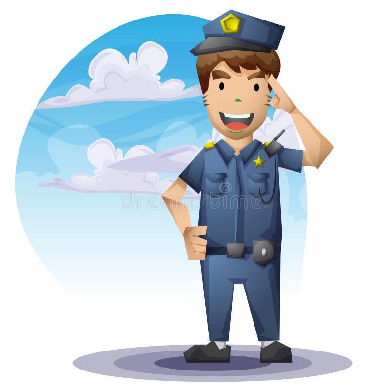 Policjant z oddzielonymi warstwami dla gry i animaci royalty ilustracja