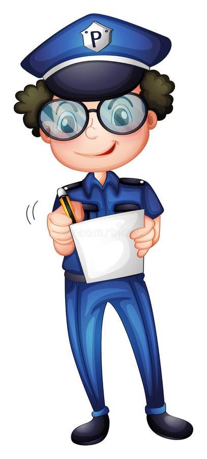 Policjant z papierem i piórem royalty ilustracja