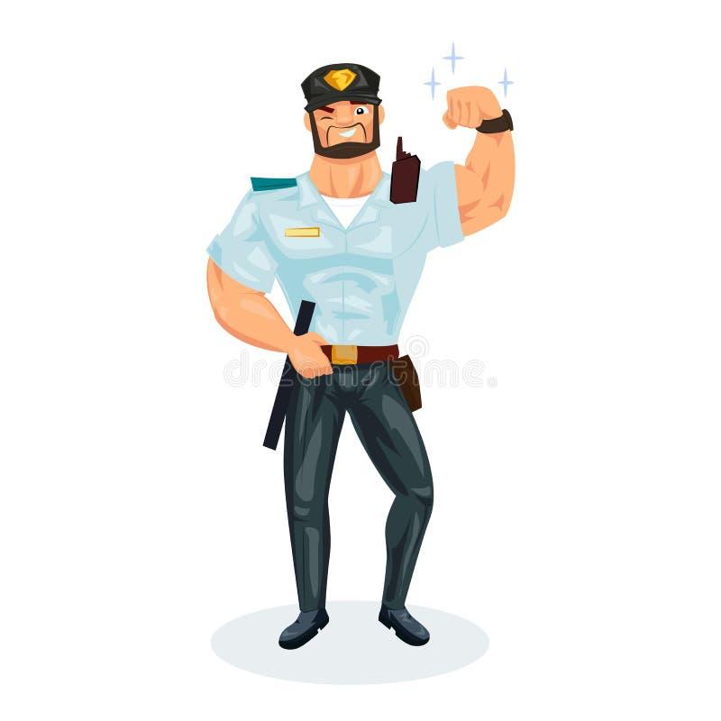Policjant, z wyposażeniem, demonstruje siłę, royalty ilustracja