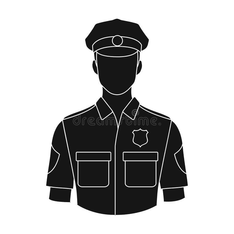 policjant Zawody przerzedżą ikonę w czerń stylu symbolu zapasu ilustraci wektorowej sieci royalty ilustracja