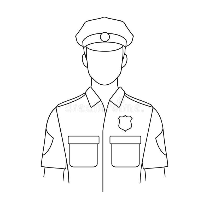 policjant Zawody przerzedżą ikonę w konturu stylu symbolu zapasu ilustraci wektorowej sieci royalty ilustracja