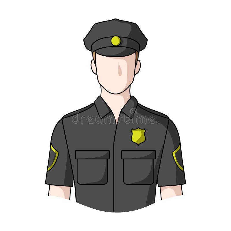 policjant Zawody przerzedżą ikonę w kreskówka stylu symbolu zapasu ilustraci wektorowej sieci ilustracji