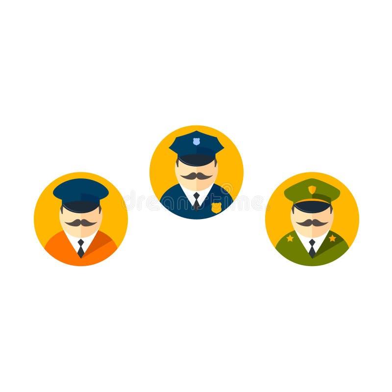 Policjanta dowóca wojskowy Limo kierowcy ikony Wektorowy set ilustracja wektor
