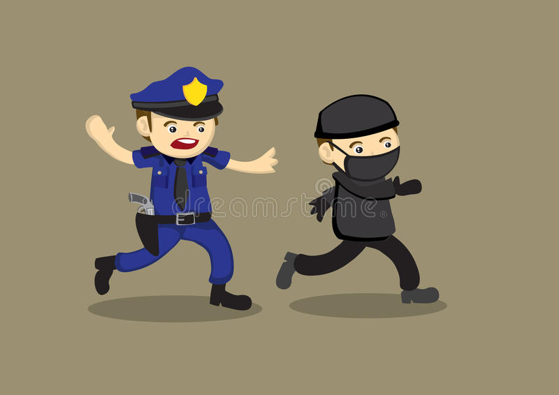 Policjanta Gończego złodzieja kreskówki Wektorowa ilustracja royalty ilustracja