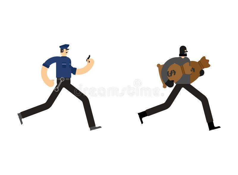 Policjanta i rabusia zatrzymanie Policjanta i włamywacza areszta oficer royalty ilustracja