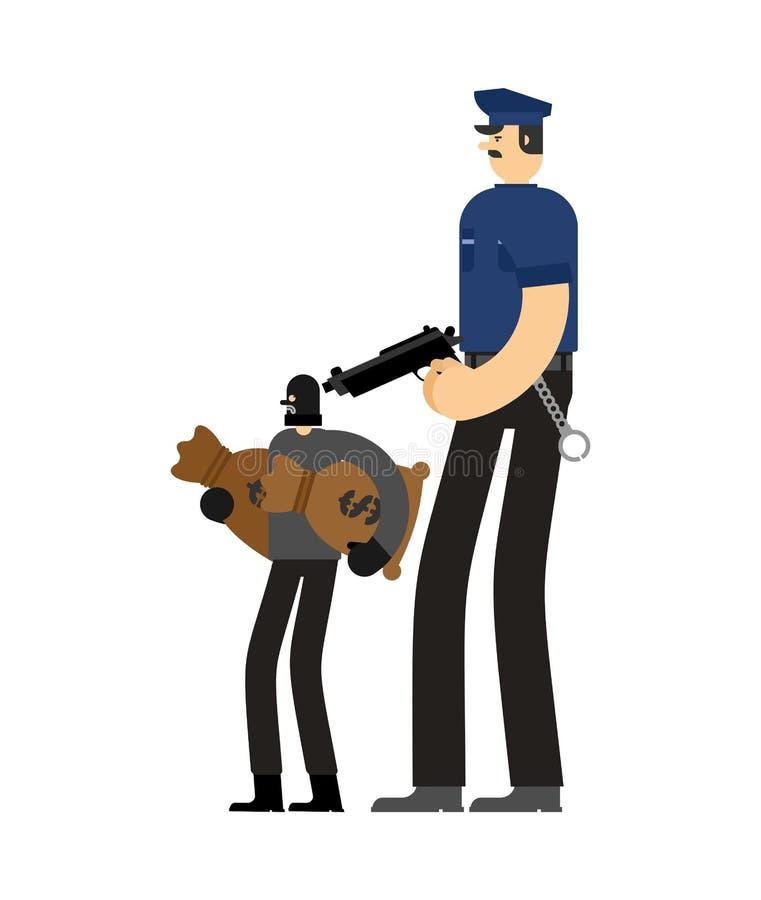 Policjanta i rabusia zatrzymanie Policjanta i włamywacza areszta oficer ilustracja wektor