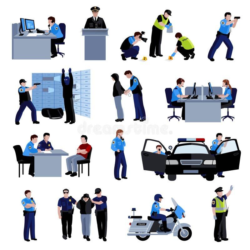 Policjanta koloru Płaskich ikon ludzie royalty ilustracja