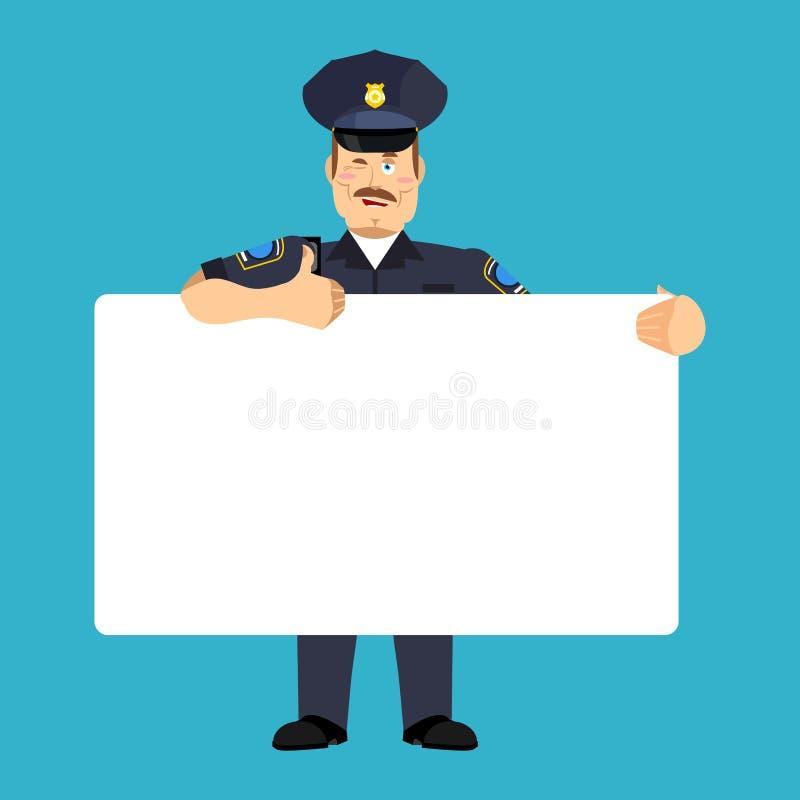 Policjanta mienia sztandaru puste miejsce funkcjonariusz policji i biały puste miejsce ilustracja wektor