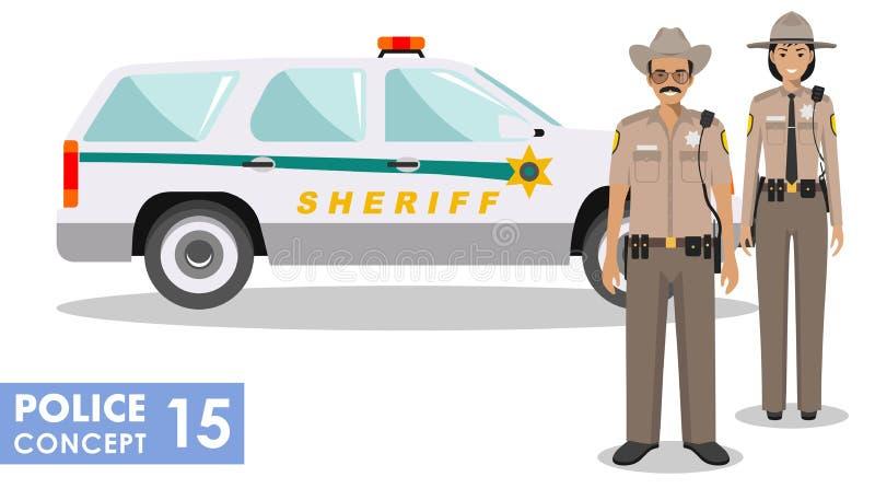 Policjanta pojęcie Szczegółowa ilustracja amerykański policjant i policjantka stoi wpólnie blisko samochodu policyjnego ilustracja wektor