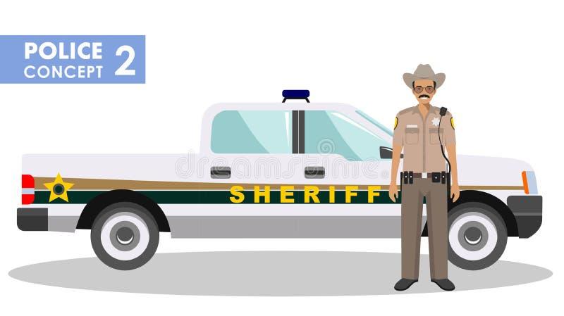Policjanta pojęcie Szczegółowa ilustracja szeryf i samochód policyjny w mieszkaniu projektujemy na białym tle wektor royalty ilustracja