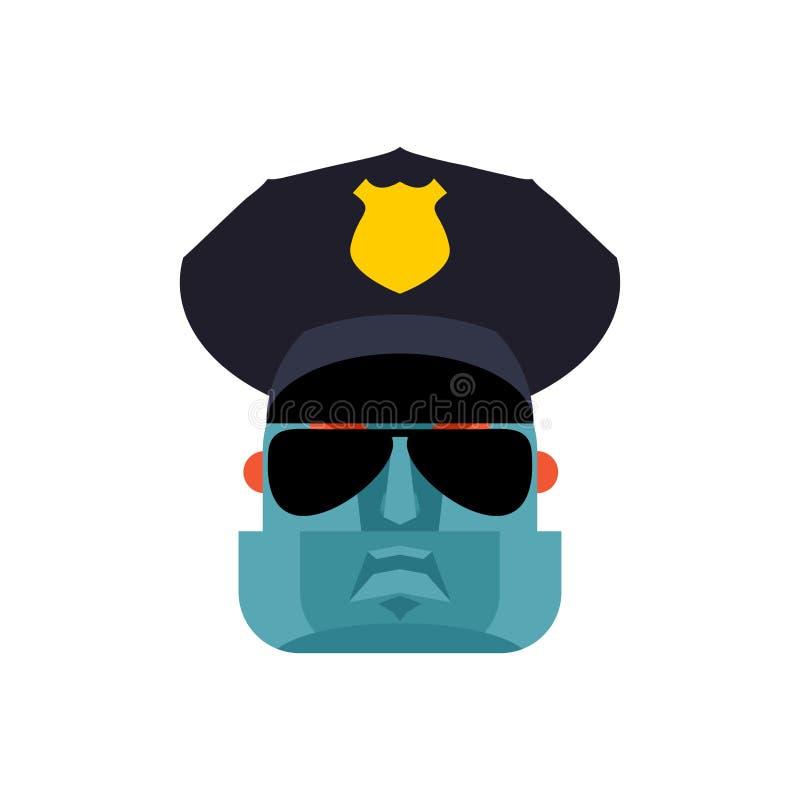 Policjanta robota twarz Policjanta cyborga głowa Oficer Milicyjny mechaniczny ma royalty ilustracja