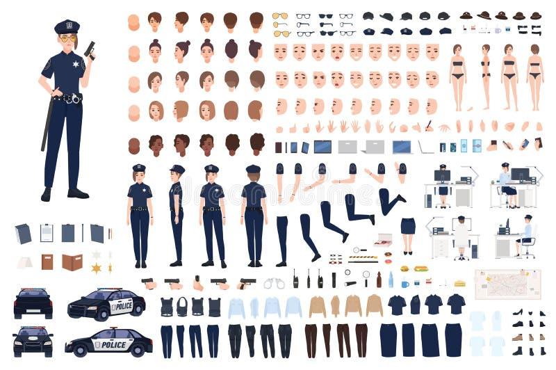 Policjantka konstruktor lub DIY zestaw Kolekcja żeńskie funkcjonariusz policji części ciała, wyrazy twarzy, fryzury royalty ilustracja