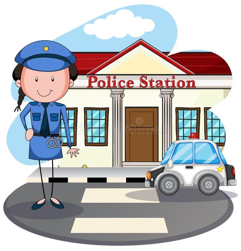 Policjantka pracuje przy komendą policji royalty ilustracja