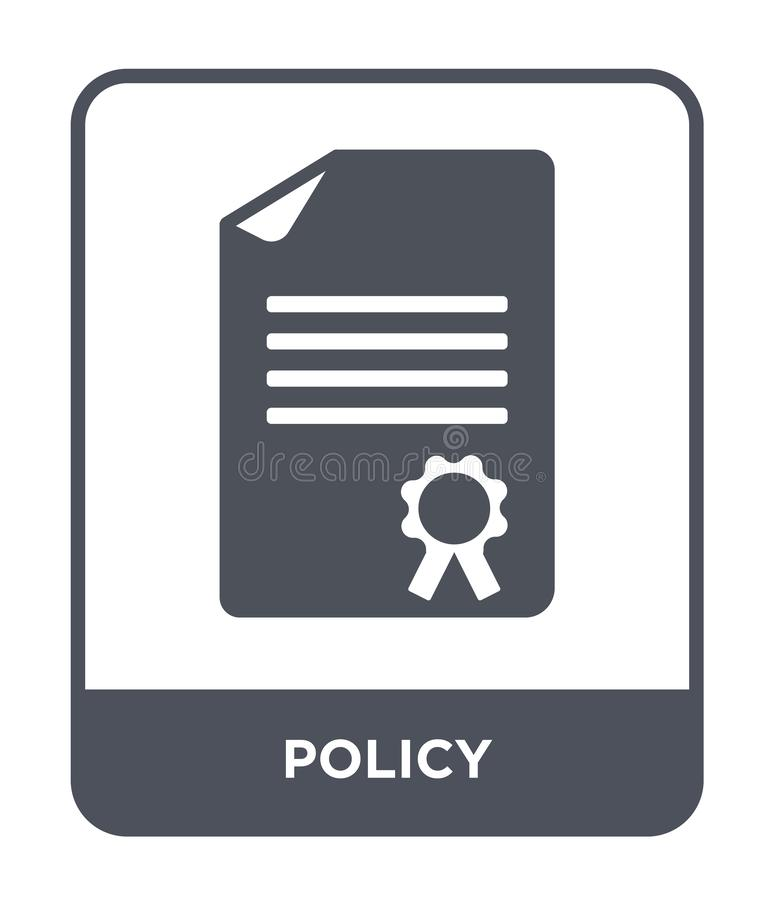 Policy icon in trendy design style. policy icon isolated on white background. policy vector icon simple and modern flat symbol for. Web site, mobile, logo, app stock illustration
