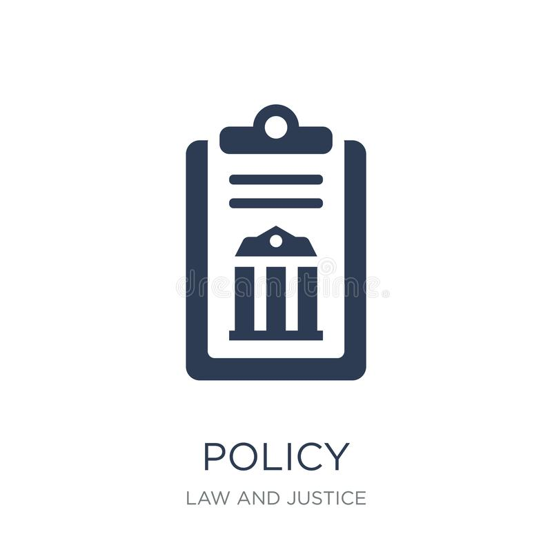 Policy icon. Trendy flat vector policy icon on white background. From law and justice collection, vector illustration can be use for web and mobile, eps10 vector illustration