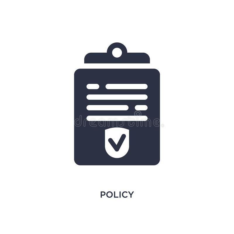 Policy icon on white background. Simple element illustration from law and justice concept. Policy isolated icon. Simple element illustration from law and justice vector illustration