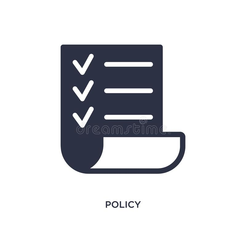 policy icon on white background. Simple element illustration from strategy concept vector illustration