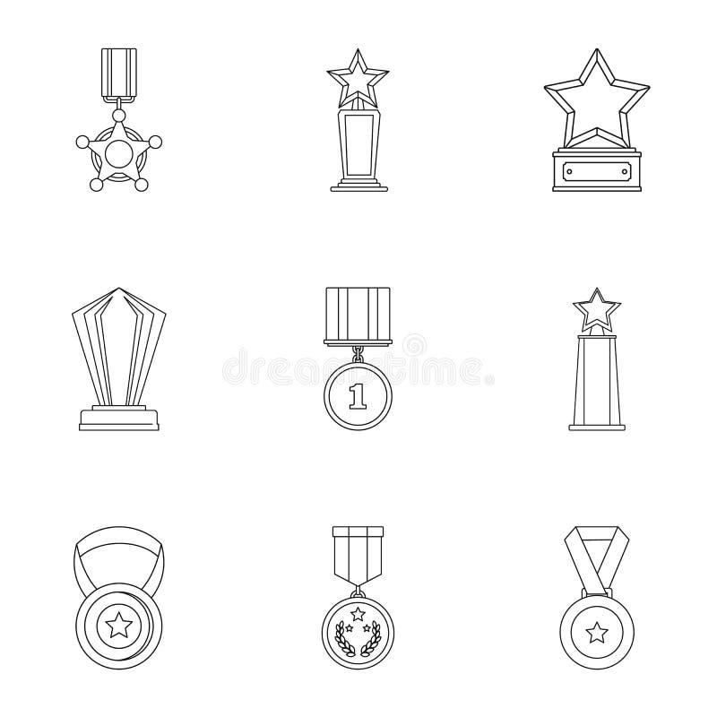 Policzenie ikony ustawiać, konturu styl royalty ilustracja