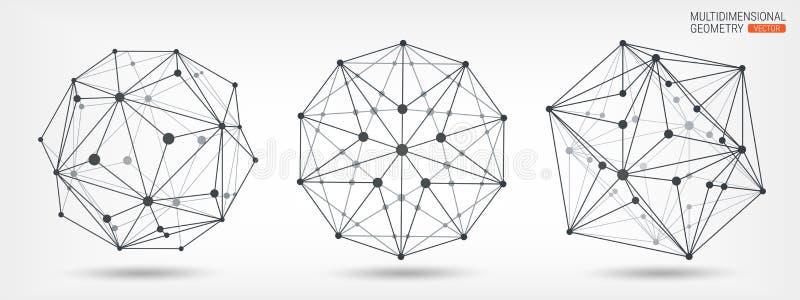 Poliedros Quadro transparente de formas complexas Formas geométricas abstraia o fundo Linhas e pontos Geometria Multidimensional ilustração royalty free