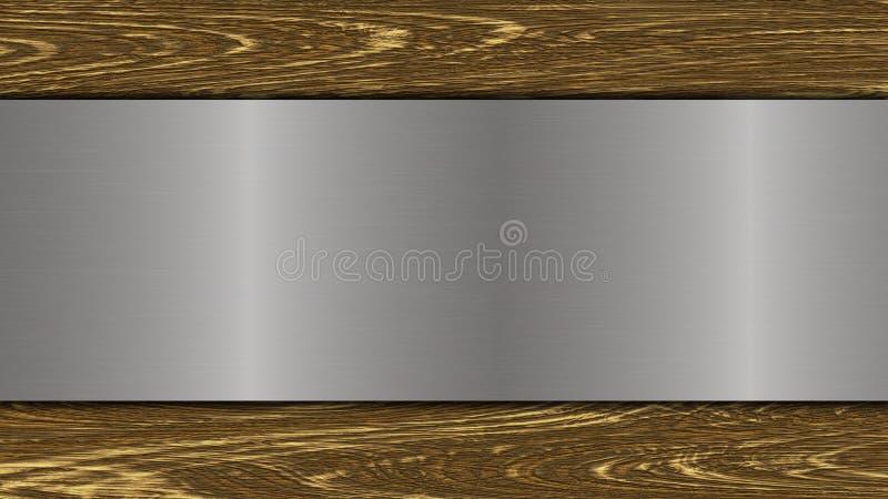 Poliermetallplatte auf hölzernem Hintergrund vektor abbildung