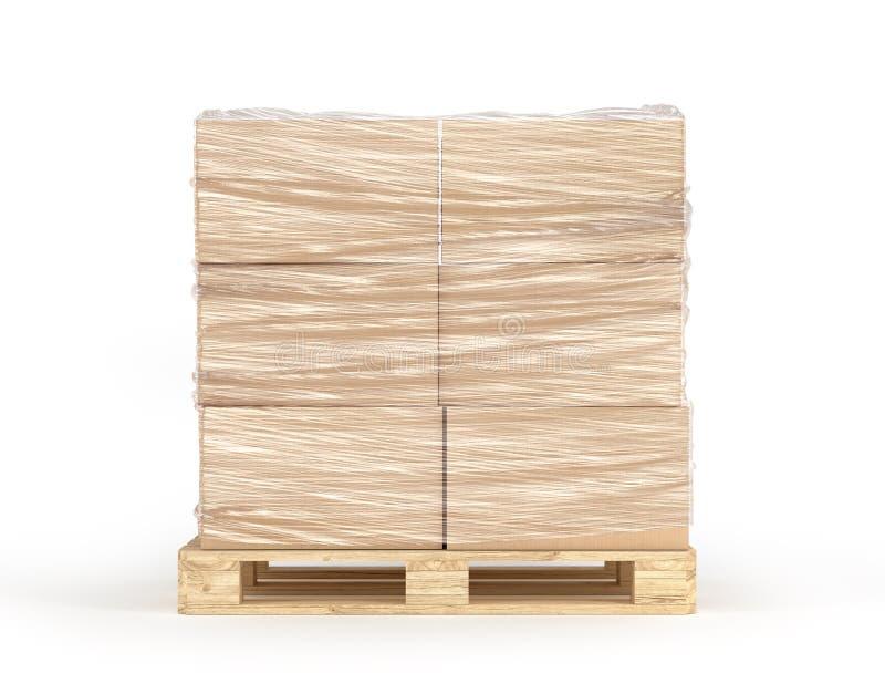 Polietileno envuelto de las cajas de cartón en la plataforma de madera aislada en el fondo blanco imagen de archivo libre de regalías