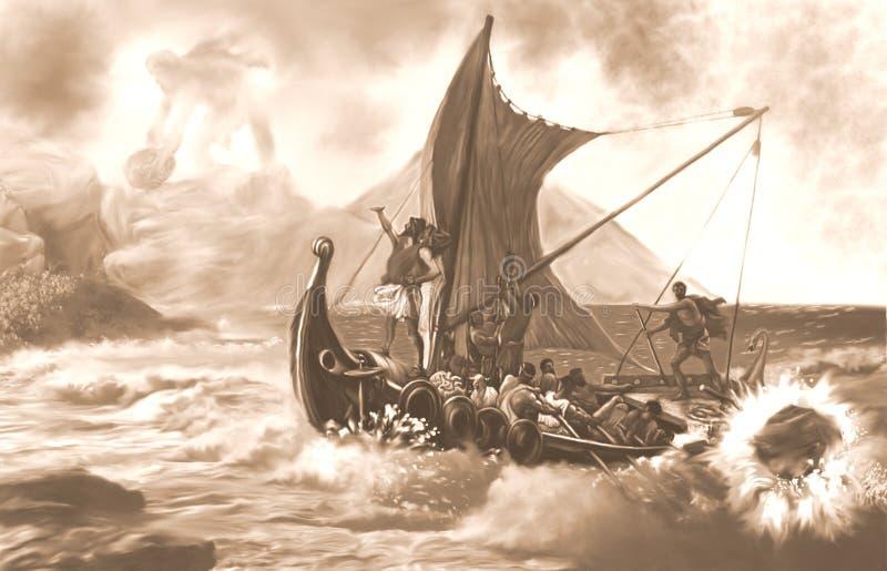 Polifemu攻击伊利亚斯和他的乘员组乌贼属 向量例证