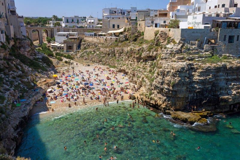 Polignano конематка, пляж стоковые изображения