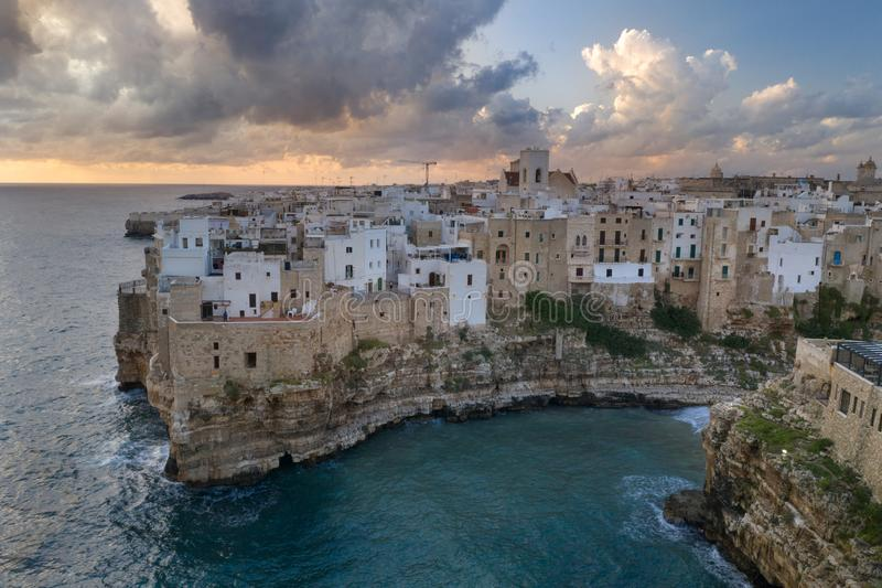 Polignano a Mare, aerial view above the city royalty free stock photos