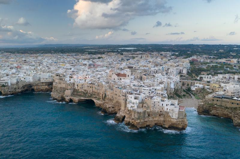 Polignano a Mare, aerial view above the sea royalty free stock images